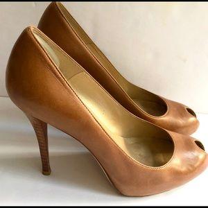 "Stuart Weitzman leather peep toe 3"" platform heels"